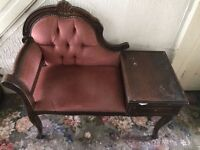 telephone table, antique style, upholstered and with drawer in dark wood. BARGAIN!