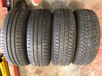 Peugeot 207 four stud alloy wheels and tyres qty 4 with good tread
