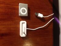 iPod shuffle, with charging cable.