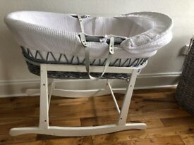 Beautiful Grey and White Claire De Lune Moses Basket with Matress