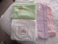 Cot baby blankets two Disney and two Cellular.