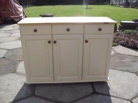 Shabby Chic Farmhouse Country Pine Sideboard /Dresser base In Farrow & Ball Cream No 67