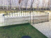 Heavy duty black wrought iron gates