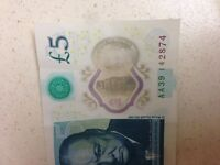 Good condition £5 new note AA
