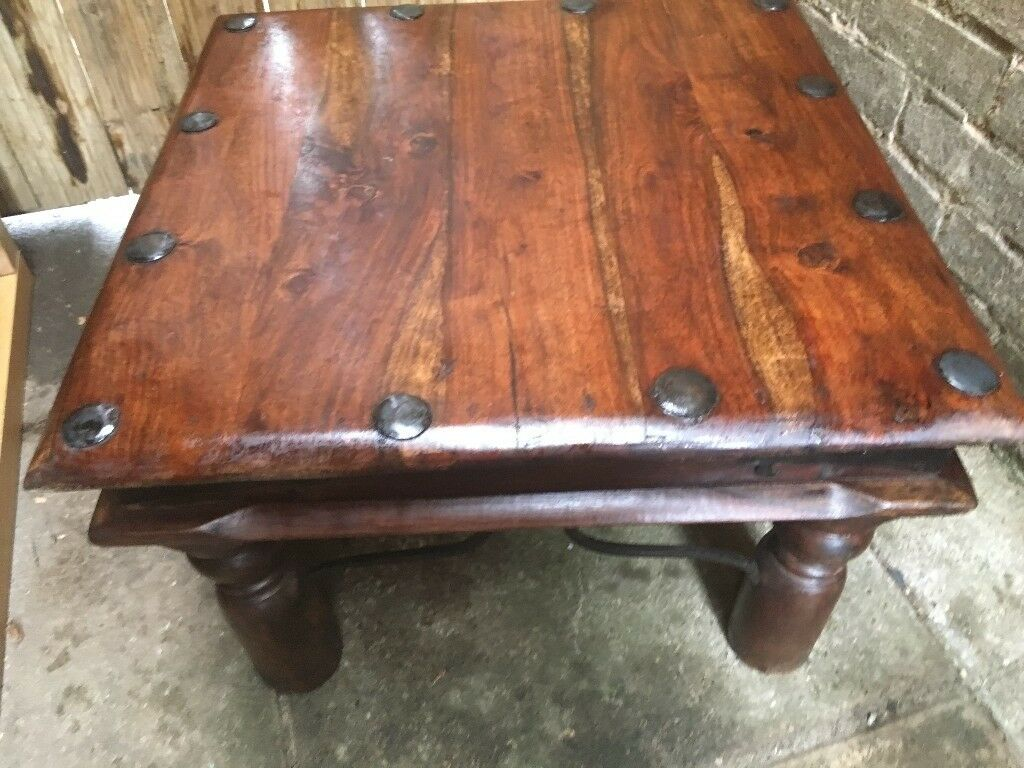 Small Coffee Or Side Indian Sheesham Thakat Dark Wood Table With Iron Detail