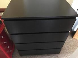 Matte black chest of drawers