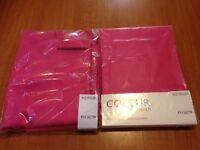 2 pairs of Argos colour match fushia pink curtains 46x54