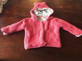 Dark pink M&S cardigan 0-3 months