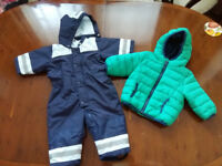 Shower resistant snowsuit and jacket/coat 3-6 months baby