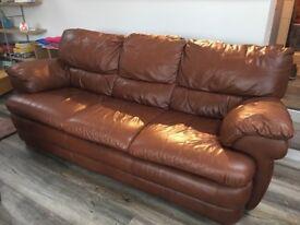 Tan leather 3 seater sofa