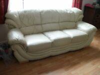 cream leather sofa / settee