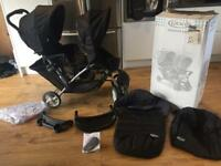 Graco stadium duo double buggy with footmuff