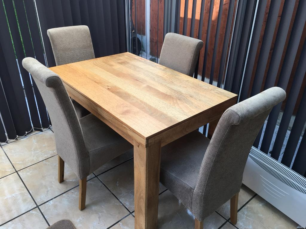 Oak Furniture Land 4 Seater Table And Chairs