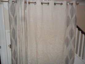 "CURTAINS - 1 PAIR OF NEXT CURTAINS 66"" x 72"" WITH POLE + FITTINGS"