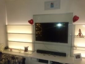 IKEA TV/entertainment unit, white with LED lights, optional shelves and storage