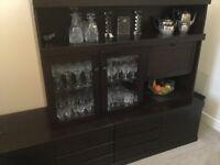 Dark wood living/dining room storage and display unit
