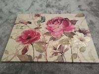 Large floral print canvas