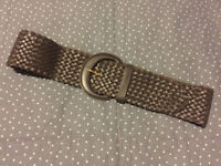 Brown Leather Woven Belt Wide