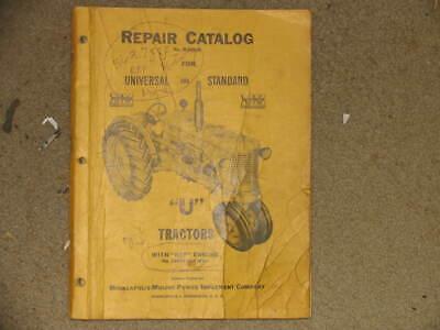 Minneapolis-moline U Tractors Repair Parts Catalog Manual R-1045b