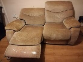 Electric recliner two seats sofa and single sofa. Collection only