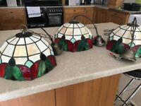 Tiffany pendant ceiling light shades. Three available or will split. Pre used.