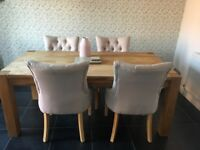 Wood table and Winchester chairs