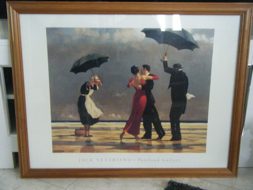 JACK VETTRIANO PICTURE UNDER GLASS WITH OAK FRAME 88cm x68cm