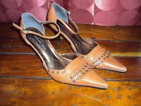 Deep orange high heel, pointed toe shoes with ankle strap, size 5
