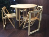 Oak Foldaway Dining Table & 4 Chairs