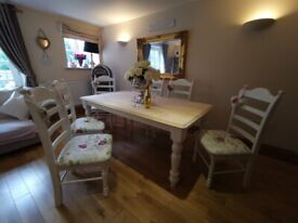 Shabby Chic Country Oak Dining Table And 6 Chairs