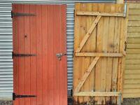 "Ledge & brace wooden garage/workshop/shed doors, 2 pairs, each door approx 2020mm x 1000mm (3'4""x7')"
