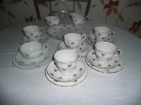 Vintage Ditsy Rose Mismatch 21 piece Tea Set