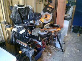 Evolution Rage double bevel mitre saw, complete with stand, largest in the Evolution range as new