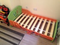 Childrens junior bed, wooden (Crayon themed)