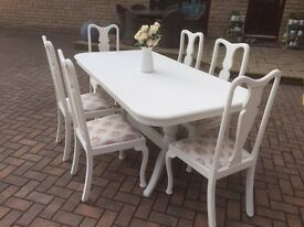 STUNNING Shabby chic Very heavy solid extending dining table ONLY NO CHAIRS painted off white