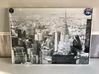 BRAND NEW LARGE NEW YORK BLACK & WHITE LUXURY GLITTER FRAMED PRINT