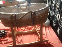 Boys Moses basket & stand