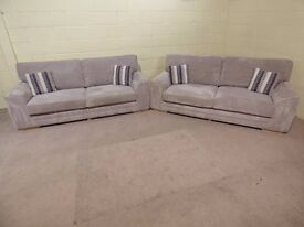 PAIR OF 3 SEATER 'COOPER' FABRIC SOFAS IN WAFFLE FABRIC EX DISPLAY