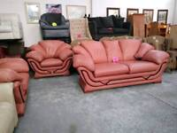 Lovely condition pink leather suite for 245 pounds