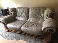 Leather sofas and footstool set - excellent quality