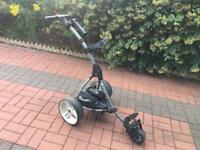 Motocaddy S1 Electric golf trolley with lithium-ion battery.