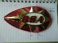 1x BSA motorbike petrol tank badge (o/s only)