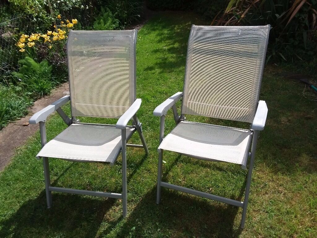 Two very solid foldable garden chairs with mesh seat base ...