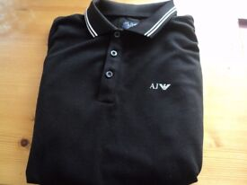 ,New Genuine Emporio armani long sleeve polo top / shirt black size small mens or teens