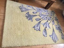 100% wool rug lemon and grey