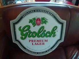 Large Metal Grolsch Advertising Sign