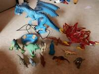 Selection of dragon and dinosaur toys