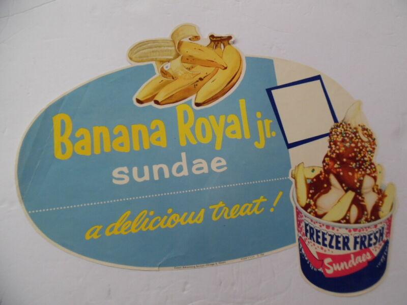 1960 Banana Split Royal Ice Cream Sundae Drive-In Paper Sign Atomic Age Vintage