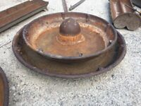 Antique Stacking Cast Iron Mexican Pig Hat Troughs / Planters / Water Feature