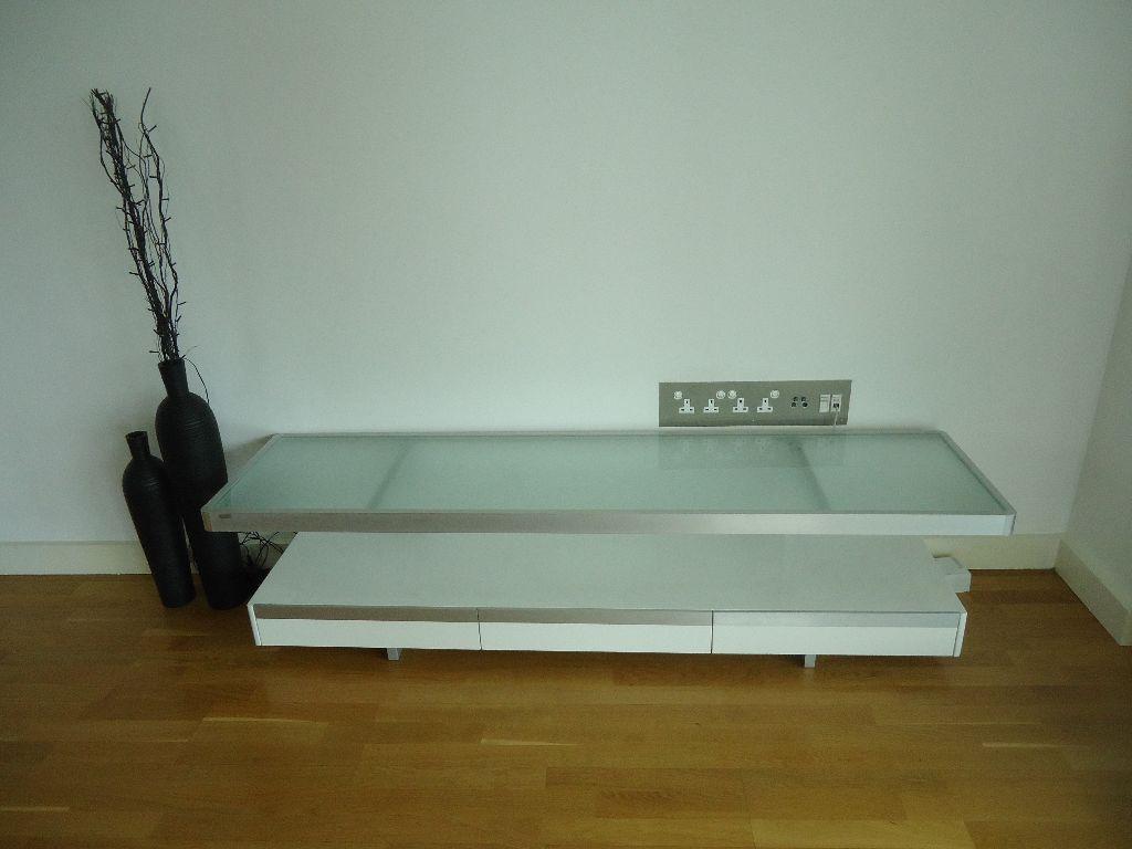 DWELL floating shelf tv unit  white gloss with frosted glass shelf. DWELL floating shelf tv unit  white gloss with frosted glass shelf
